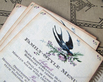 Wedding Menu Card- Vintage Barn Swallow and Roses