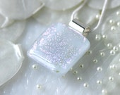 Winter White Wedding Pendant Jewelry Necklace Fused Glass 0999 - GetGlassy