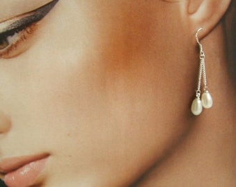 Fresh Water Pearl Dangle Earrings, Sterling Silver