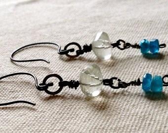Long dangle gemstone earrings