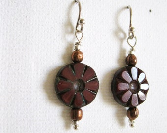 Delicate Rustic Earrings. Reddish Brown Coin and Copper Bead Earrings. Sterling Silver Earrings. UK Seller
