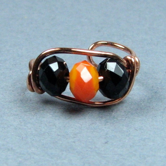 Halloween Ear Cuff Copper, Sterling Silver, 14k Gold or Rose Gold Fill Cartilage Earring  Black and Orange Crystal