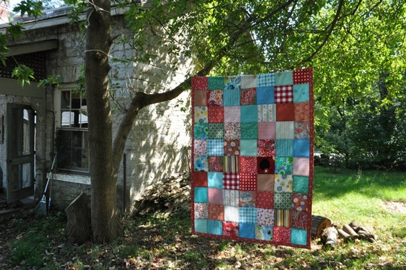 beautiful red and robins egg blue lap quilt -- cotton -- patchwork