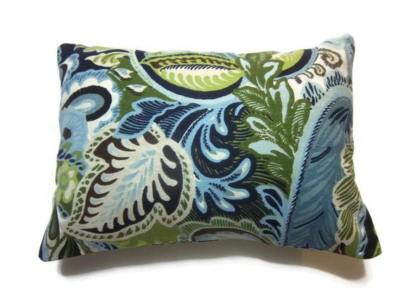 One Blue Chartreuse Olive Green Brown White Pillow Cover Modern Paisley 12x16 Lumbar Pillow Toss Accent Cover Design Front and Back