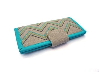 MADE TO ORDER  / Large wallet / Teal wallet / Modern Wallet / Embroidered Wallet / Wallets For Women / Marillis Wallet