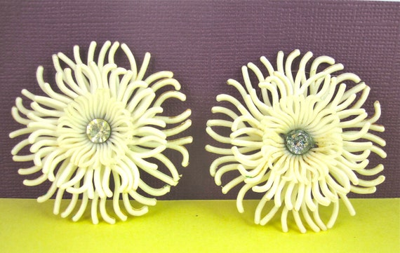Vintage Celluloid Earrings with Rhinestone Centerpiece