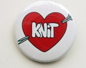 I Love (to) Knit pinback button - 1.5 inches
