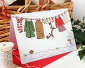 Christmas Card - Little Girl's Washing Line - Single Card (Blank)