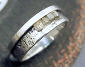 RESERVED - Raw Diamond Ring - Sterling Silver and Rough Diamonds - Hammered and Oxidized Band Ring - Industrial Chic - Women and Men
