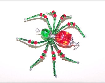 Kris - red and green glass beaded spider goth sun catcher - Halloween decoration - Christmas ornament
