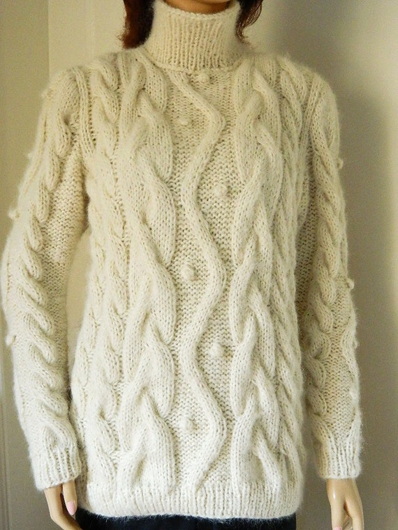 Knitting Patterns Using Alpaca Wool : Items similar to Hand Knit Sweater with Cable Pattern Made from softest Baby ...