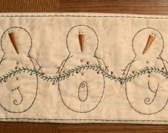 Primitive Stitchery PATTERN Joy Snowman Runner