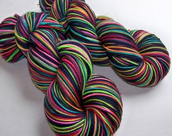 Handpainted Superwash Merino/Nylon 2ply Sock Yarn -- STRIPING for Socks or Gloves -- Tickle Me Emo