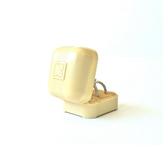 Art Deco Celluloid Wedding Ring Set Box