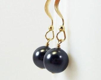 Black Pearl Earrings BELLE Bridal Jewelry Wedding Bridesmaid Swarovski Gold Filled