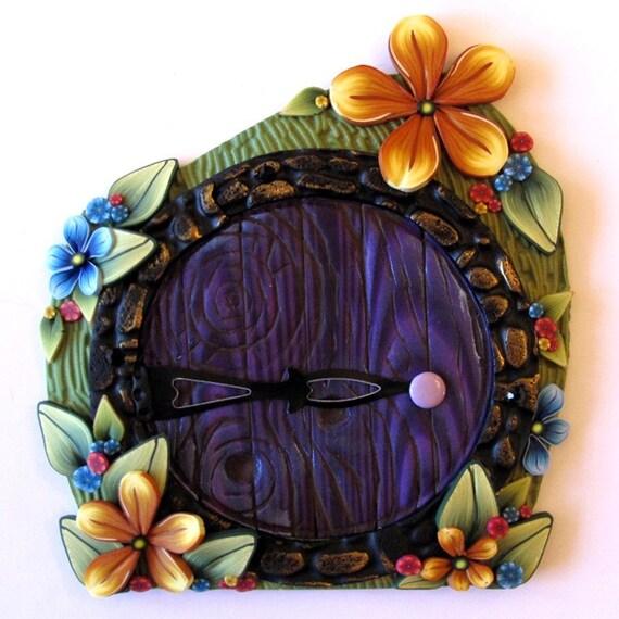 Purple fairy door hobbit style for Purple fairy door