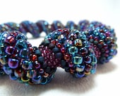 Tangled Up in Blue Cellini Spiral Beadwoven Bangle Bracelet - The Twisted Collection