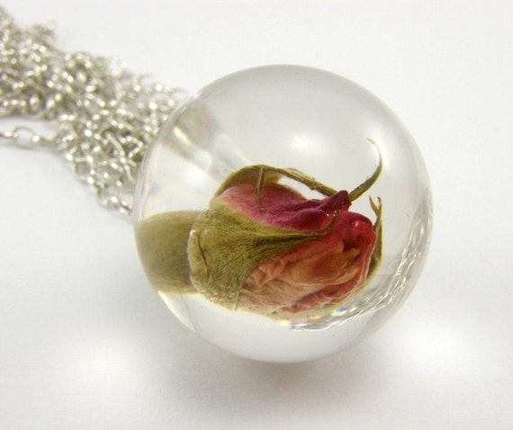 Small Rose Resin Necklace, Floral Resin Pendant 24mm