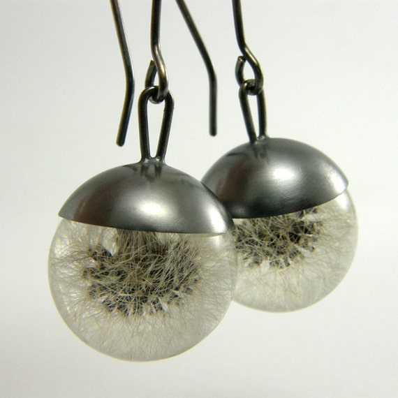 Dandelion Resin and Silver Earrings, Floral resin Earrings