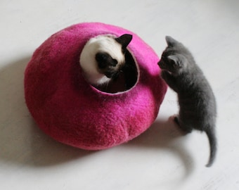 Cat Bed / Cave / House / Vessel - Hand Felted Wool - Hot Pink Bubble - Crisp Contemporary Design