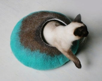 Cat Bed / Cave / House / Vessel - Hand Felted Wool - Teal Brown Bubble - Crisp Contemporary Design