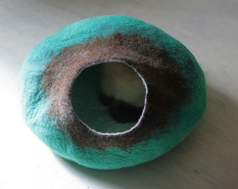 Cat Bed / Cave / House / Vessel - Hand Felted Wool - Teal Brown Bubble - Crisp Contemporary Design -  READY TO SHIP