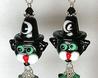 WiTCHy BLaCK CaT Handcrafted Lampwork Glass Earrings by Glitterbug Originals SRAJD