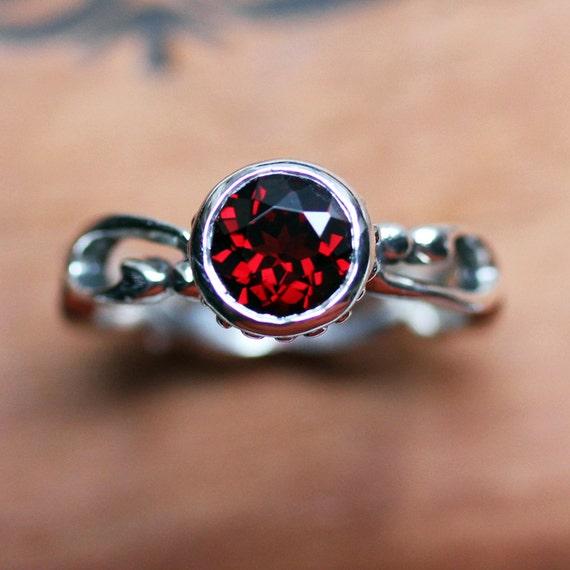 Garnet ring - bezel gemstone ring - January birthstone -cherry red garnet - infinity swirl - Wrought - ready to ship, size 7