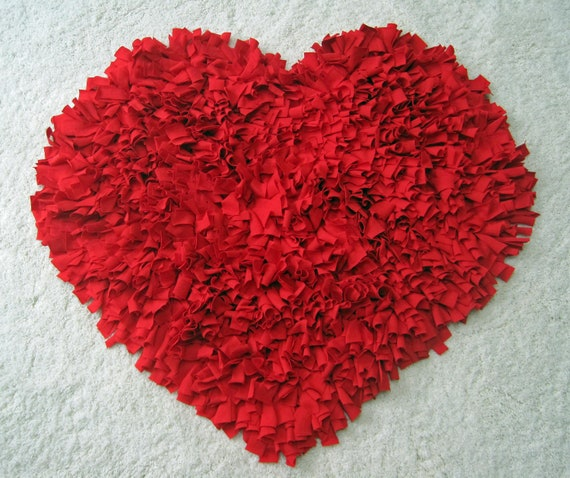 Custom Red HEART Recycled Cotton T Shirt Shag RUG