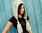 Knit Hat Oatmeal Womens Hat Oatmeal Hood Oatmeal Ear Flap Hat - Oatmeal Tassel Hat - Oatmeal Knit Hat - Womens Accessories
