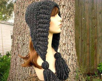 Grey Womens Hat Crochet Hood Grey Ear Flap Hat - Tassel Hat Charcoal Grey Crochet Hat - Grey Hat Grey Hood Womens Accessories Winter Hat