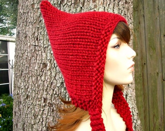 Knit Hat Womens Hat - Red Pixie Hat in Metallic Poinsettia Red Knit Hat - Red Hat Womens Accessories Winter Hat