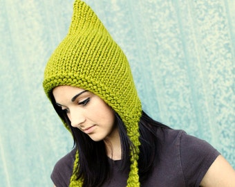 Knit Hat Green Womens Hat - Pixie Hat in Lemongrass Green Knit Hat - Green Hat Green Pixie Hat Womens Accessories Winter Hat
