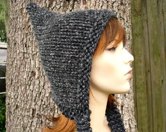 Knit Hat Womens Hat - Grey Pixie Hat in Constellation Metallic Charcoal Grey Knit Hat - Grey Hat Womens Accessories Winter Hat