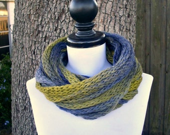 Circle Scarf Infinity Scarf Knit Cowl Infinity Cowl in Serengeti Blue Yellow - Blue Scarf Blue Cowl Womens Accessories - READY TO SHIP