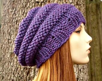 Purple Womens Hat - Original Beehive Beret Hat in Violet Purple Knit Hat - Purple Hat Purple Beret Purple Beanie Womens Accessories