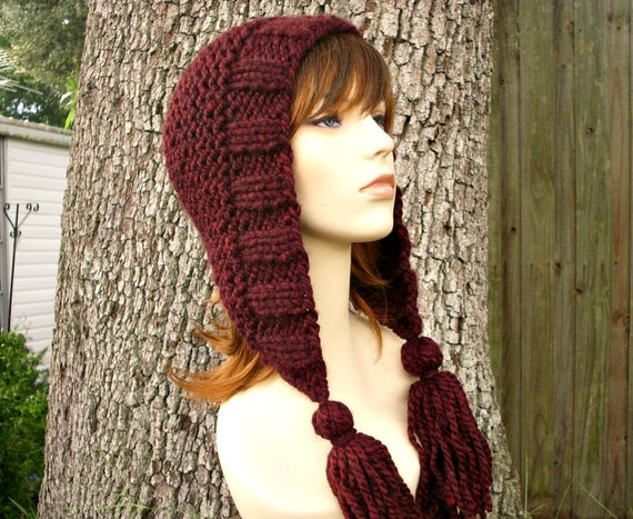Knit Hat Womens Hat Knit Hood Red Ear Flap Hat - Red Tassel Hat in Red Oxblood Wine Knit Hat - Red Hat Womens Accessories Winter Hat