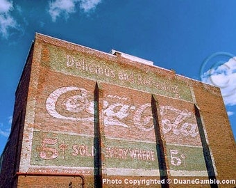 Vintage, Coca Cola, Wall Sign,Brick,Blue Skies,Faded Paint,Puffy White Clouds,Fine Art, Photographic Print, Artist Made