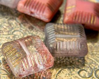 Pink Lemonade (6) -Czech Glass Tile Mix 14mm