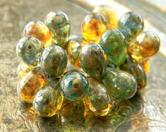 Kelp Forest (25) -Czech Glass Drops 9x6mm