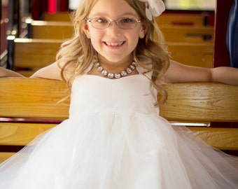 Flower Girl Dress Diamond White Soft White Off White Light Ivory