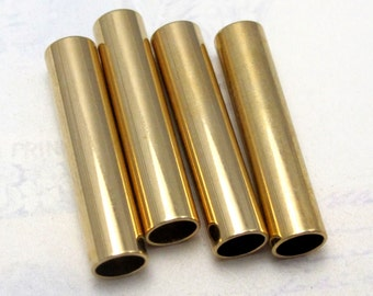 Vintage Shiny Huge Gold Plated Tube Beads (4X) (B599)