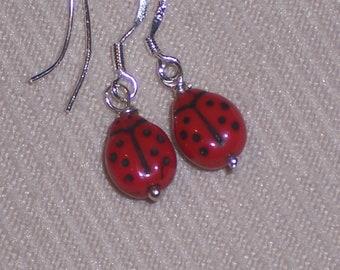 Red Lady Bugs . Black polka Dots .  Sterling Silver Earrings, Handmade Jewelry