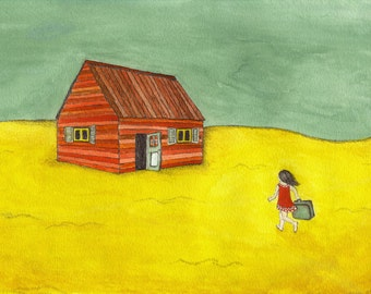 Mixed Media Painting - Homecoming - Original gouache and pencil painting