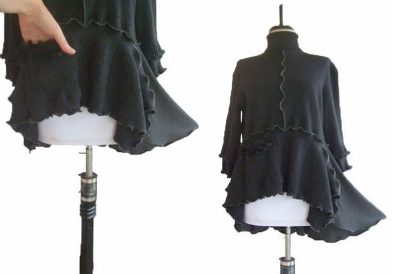 Asymmetric Floral Ruffled Sweater Large L/XL Recycled Eco Friendly Womens Handmade Fashion Charcoal Merino Wool