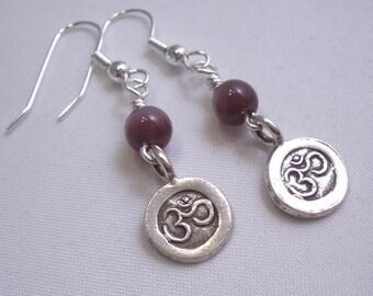 Fine Silver OM Charm Earrings