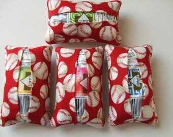Baseball - Hand Sanitizer and Tissue Holder - Allergies - Set of 4