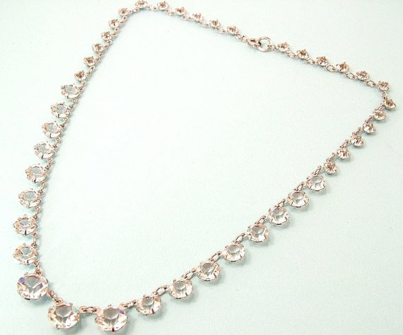 Vintage 1950s glam, clear paste/ open back rhinstone/ paste necklace