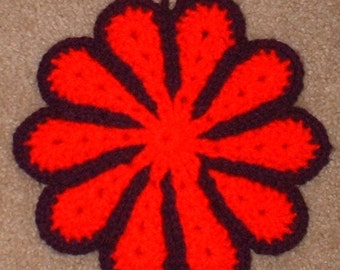 Hot Pad, Pot Holder, Red and Purple Daisy Shaped, Crochet