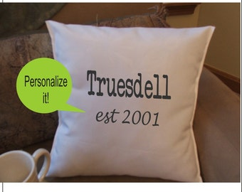 Personalized throw pillow cover, name pillow